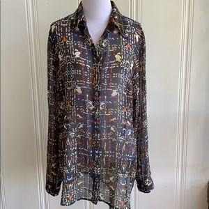 Cabi sheer grey long sleeve blouse